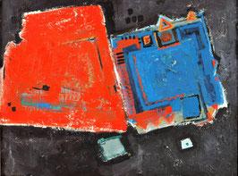 Abstract rood/blauw & zwart