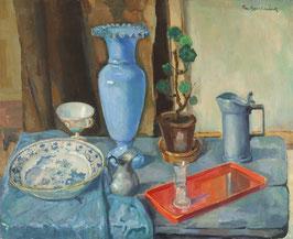 Stilleven met blauwe vaas.