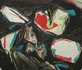 Abstract naakten in roze wit groen blauw en zwart