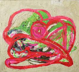 Abstract met roze centrum