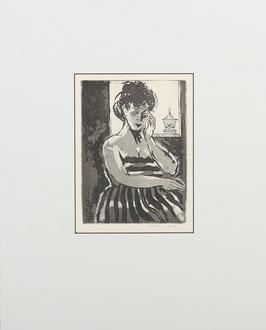 Vrouw met vogelkooitje