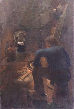 Boer zittend in interieur