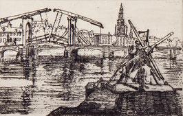 Stadsgezicht magere brug Amsterdam