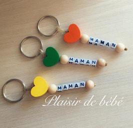 """Porte clefs coeur """"Maman"""""""