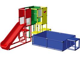 Speeltoren met groot ballenbad