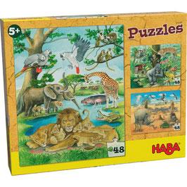 Puzzle Set 3 x 48 Teile - Tiere der Savanne