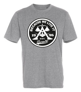 Org. Becauseweliveit Badge T-shirt // Heather Grey