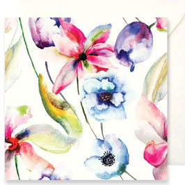3348 GREETING CARD FIORI - WATERCOLOR OF RED, BLUE AND PURPLE FLOWERS
