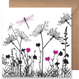 3507 GREETING CARD SHADOWS - PINK DRAGONFLY