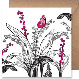 3513 GREETING CARD SHADOWS - PINK BUTTERFLY