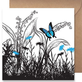 3506 GREETING CARD SHADOWS -BLUE BUTTERFLY