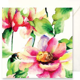 3354 GREETING CARD FIORI - WATERCOLOR OF FLOWERS WITH GREENERY