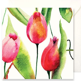 3353 GREETING CARD FIORI - WATERCOLOR OF RED, BLUE AND PURPLE FLOWERS