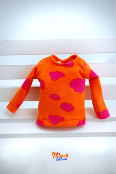 Basic Shirt orange with pink clouds / S-11