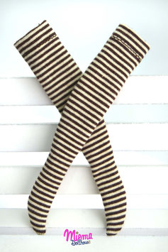 socks striped beige and brown