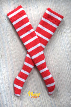 Striped socks coral red and white
