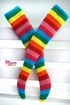 stockings striped blue-green-yellow-red-pink