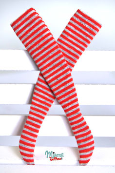stockings red and grey striped