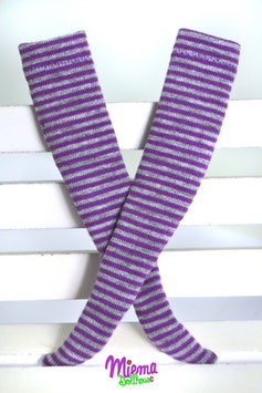 socks striped grey and purple