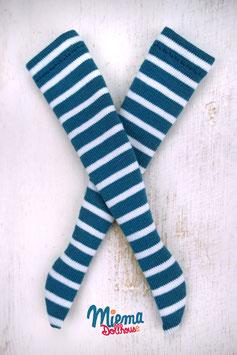 striped socks dark turquoise and white / 21-113