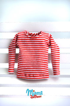 Basic Shirt red / white striped / S-8