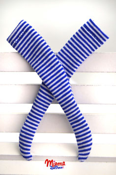 stockings striped small blue and white
