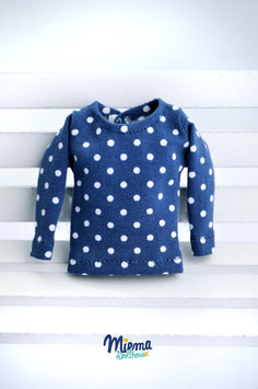 Basic Shirt steel blue and white dots