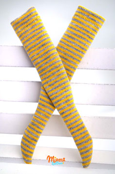 socks striped yellow and grey
