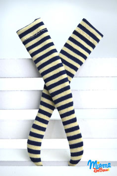 stockings striped blue / beige