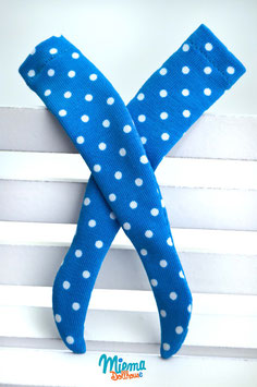 stockings blue with white dots