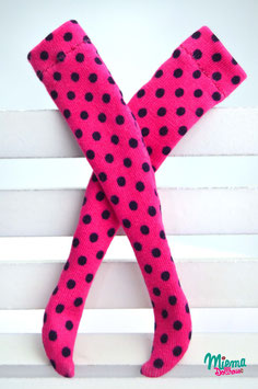 stockings pink with dark blue dots