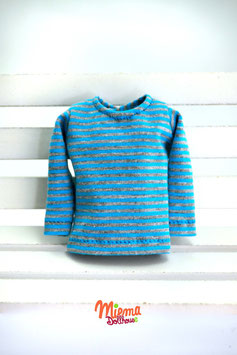 Basic Shirt striped blue + grey / S-5