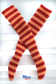 socks striped orange and red