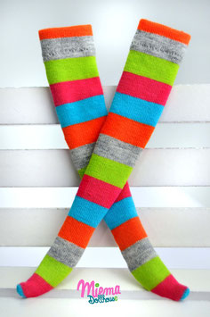 socks striped green/pink/blue/orange/grey