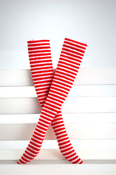 striped socks red / white