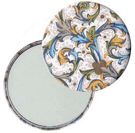 Taschenspiegel,Handspiegel, oder Flaschenöffner mit Magnet  ,Button, 59 mm Durchmesser,Florentiner Papier Antique