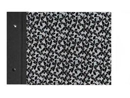 Fotoalbum Schraubalbum Din A4, Querformat, offener Buchrücken,Baumwollpapier Geometrische Figuren weiß auf schwarz