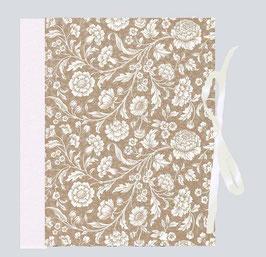 Ringordner Din A5 , 5 cm breit, mit Bügelmechanik , große Blumen gold kupfer weiß