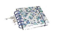 Notizbuch klein, mit blauer Ringbindung Wire-O Bindung, Ornamente blau gold