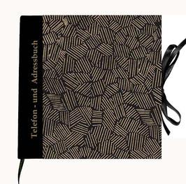 Adressbuch Telefonbuch,Nepal Papier Krikelkrakel gold auf schwarz