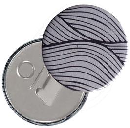Flaschenöffner mit Magnet oder Taschenspiegel,Handspiegel  ,Button, 59 mm Durchmesser,Wellenkreise dunkelblau auf hellblau