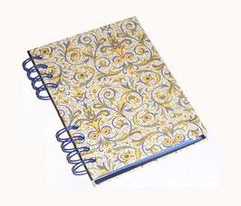 Telefonbuch / Notizbuch Din A6, mit blauer Ringbindung Wire-O Bindung, Register ABC blau, Florentiner Papier Blätterranken gelb blau grün gold