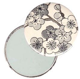 Flaschenöffner mit Magnet oder Taschenspiegel,Handspiegel  ,Button, 59 mm Durchmesser,Chiyogami Yuzen Papier,Kirschblüten schwarz auf  beige
