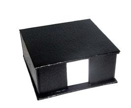 Zettelbox schwrz, Einbandpapier mit Lederoptik / Lateximpregniert