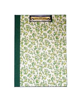 Klemmbrett Mappe DinA4 , florentiner Papier mit Golddruck,  Ornamente grün