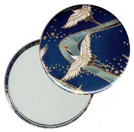 Flaschenöffner mit Magnet oder Taschenspiegel,Handspiegel  ,Button, 59 mm Durchmesser,Chiyogami Yuzen Papier,Kraniche blau gold