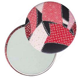 Flaschenöffner mit Magnet oder Taschenspiegel,Handspiegel  ,Button, 59 mm Durchmesser,Chiyogami Yuzen Papier,Sichelmuster rot rosa auf schwarz