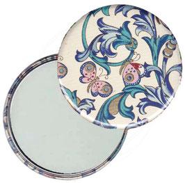 Taschenspiegel,Handspiegel, oder Flaschenöffner mit Magnet  ,Button, 59 mm Durchmesser,Florentiner Papier Ornamente Schmetterlinge