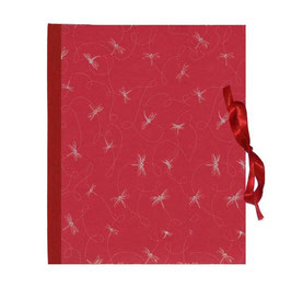Ringordner DinA4, Libellen silber auf rot, 3cm breit