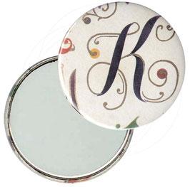 Taschenspiegel,Handspiegel, oder Flaschenöffner mit Magnet  ,Button, 59 mm Durchmesser, Alphabetum mit Golddruck